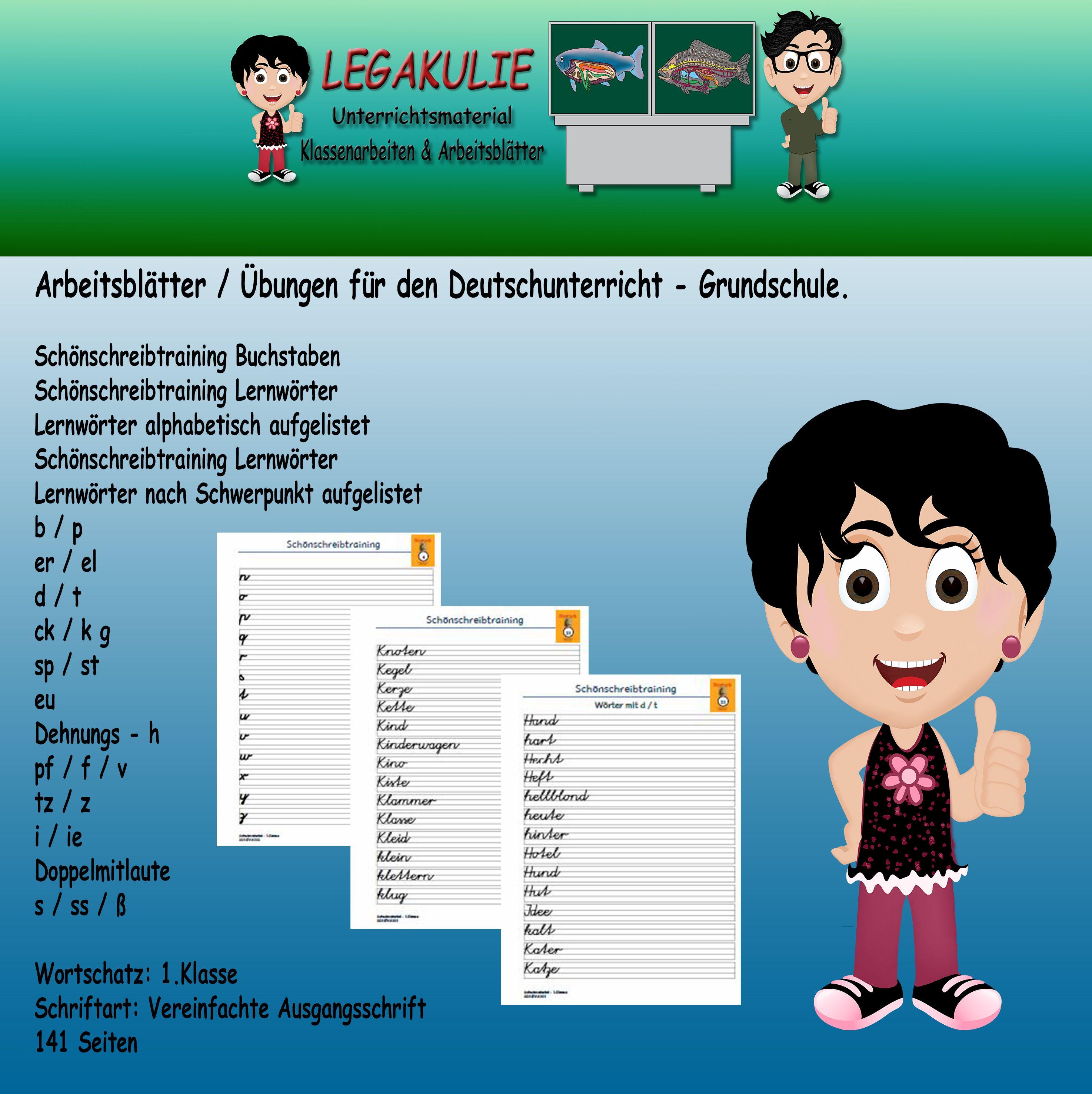 Deutsch 1.Klasse Schönschreibtraining Vereinfachte Ausgangsschrift