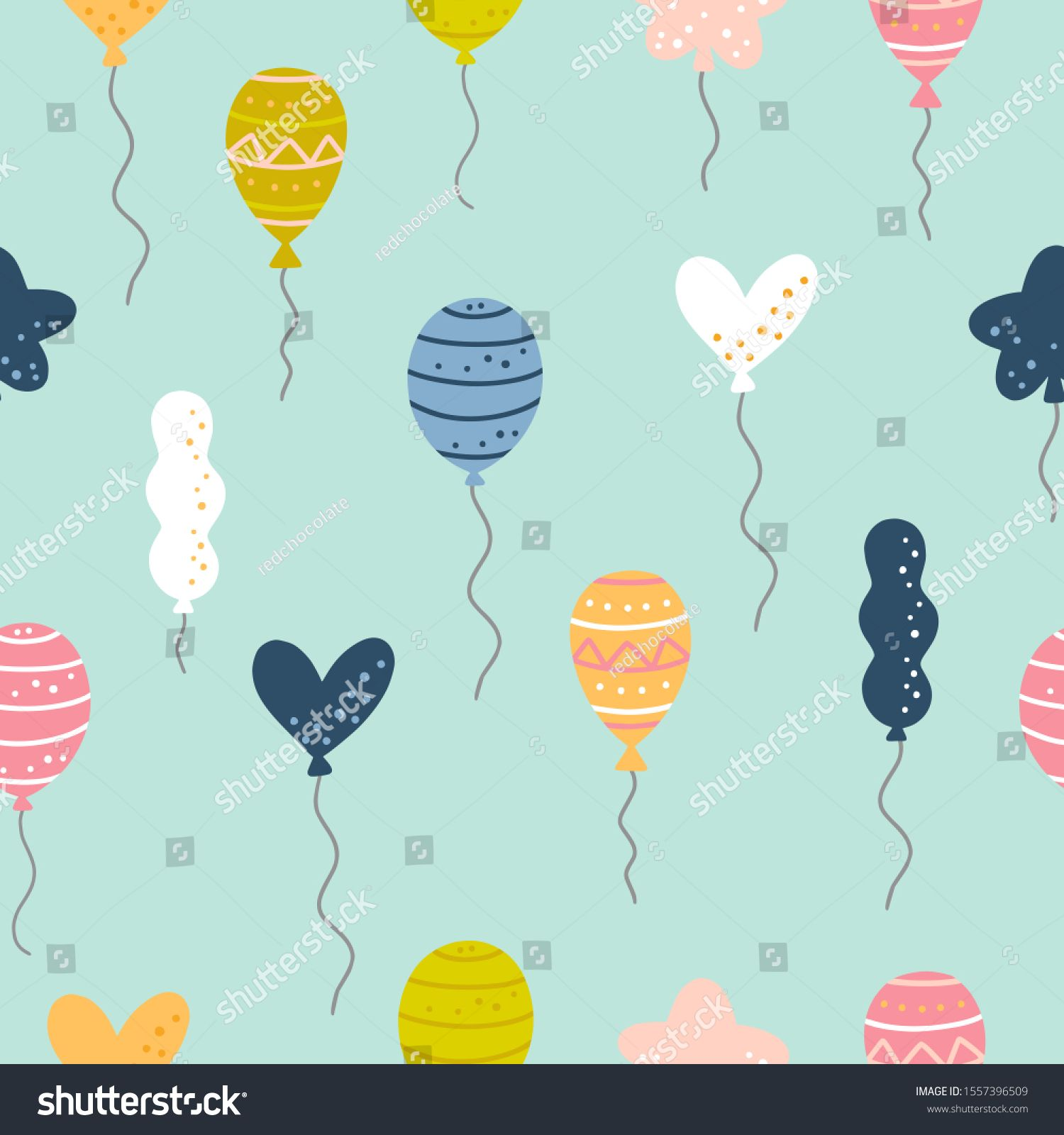 Birthday Seamless Pattern With Balloons Funny Vector Background