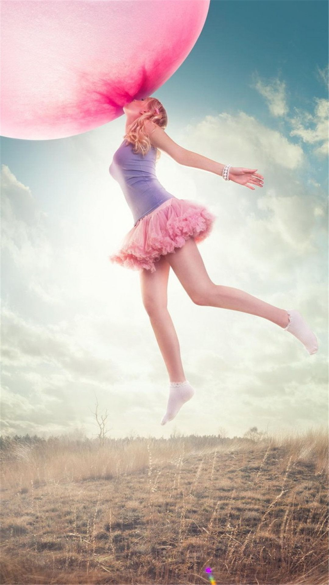 Dreamy Sport Young Jump Pink Balloon IPhone 6 Plus Wallpaper