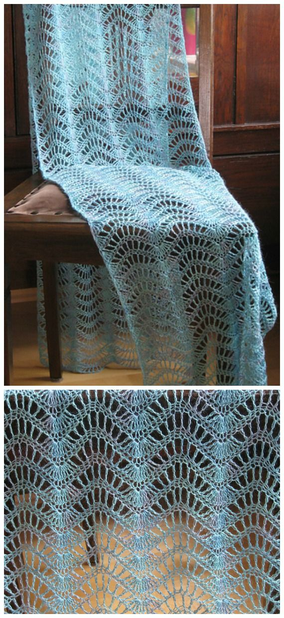 Feather Fan Lace Shawl Crochet Free Patterns - Crochet & Knitting