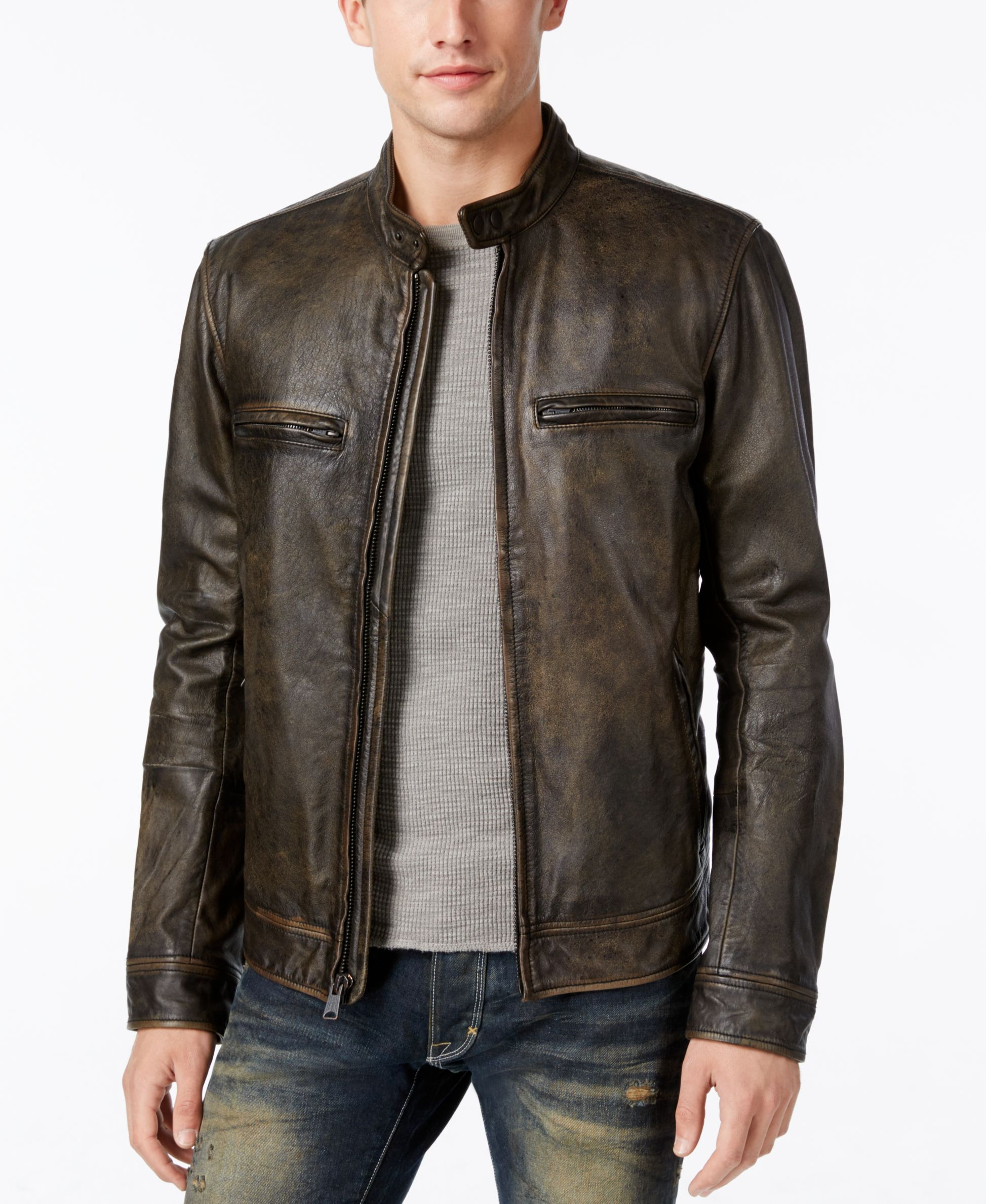Lucky Brand Men S Cafe Racer Leather Moto Jacket Leather Jacket Men Man Cafe Cafe Racer Jacket [ 2378 x 1947 Pixel ]