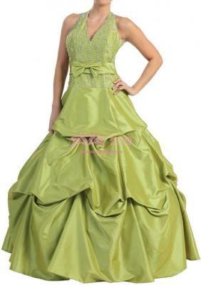 Taffeta Halter Pickup with Ruffles/Bow Quinceanera Dress
