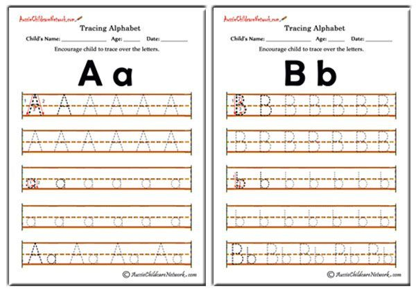 Tracing Alphabets Worksheets, Tracing Alphabet Letters A to Z