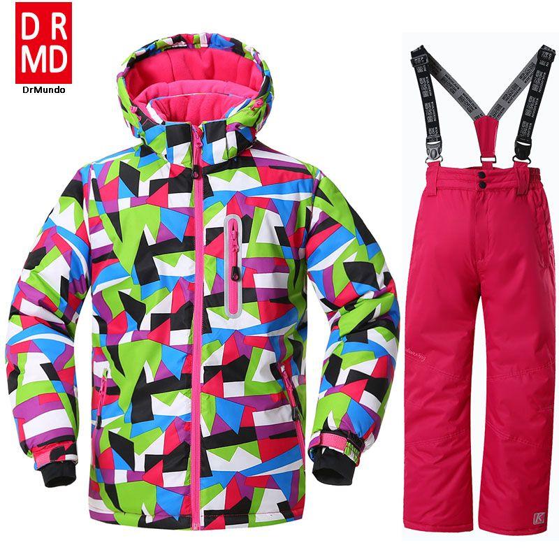 290f6828ffd9 Girls Ski Suit Waterproof Kids Ski Jacket Ski Pants thermal Winter ...