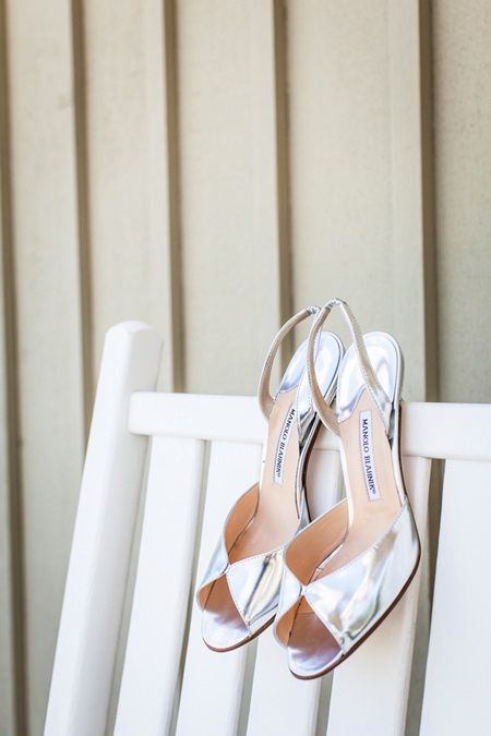 Shiny Silver Bridal Heels