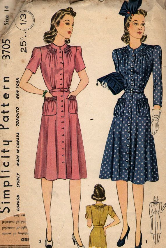 Vintage 1940s Simplicity Sewing Pattern 3705 - Misses\' Dress size 14 ...