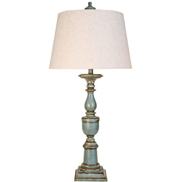 Avignon Blue Candlestick Table Lamp ($150) ❤ Liked On Polyvore Featuring  Home, Lighting