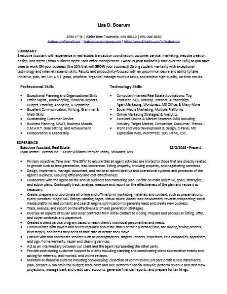 resume  u2013 executive administrative assistant