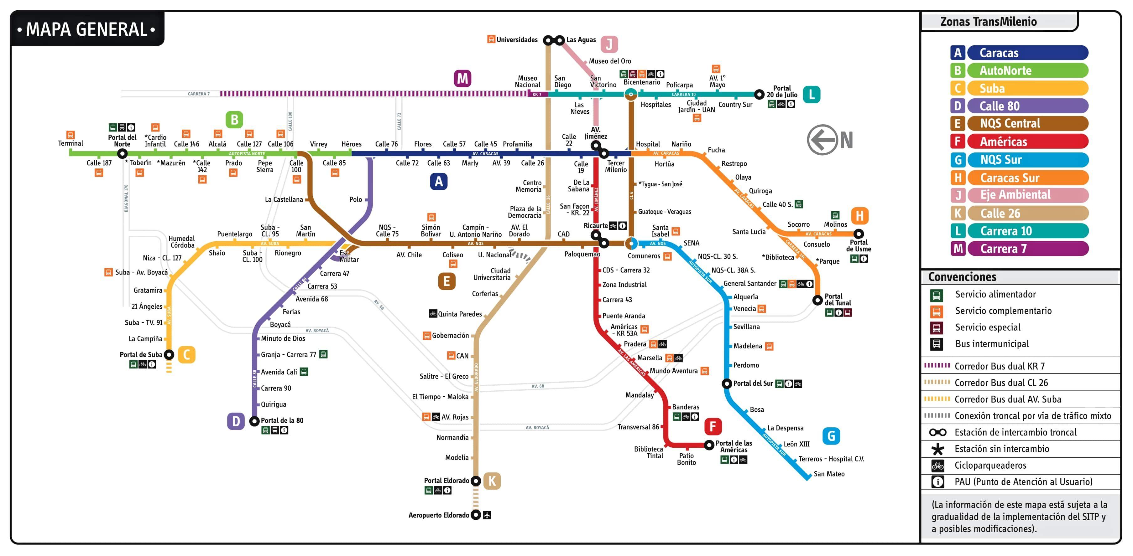 Mapa Transmilenio Bogota 2018
