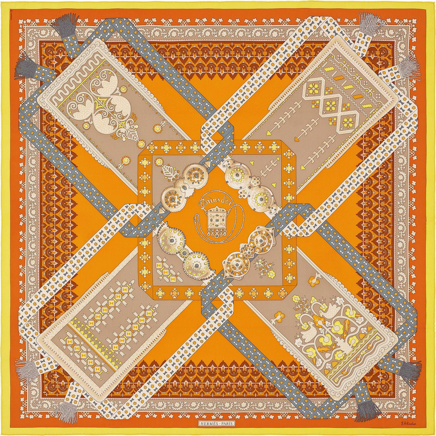 Scarf 90 Hermès | Brins d'Or by Julie Abadie DESIGN HISTORY : Embroidered with gold or woollen thread, decorated with stylised animal and flower motifs, geometric patterns or arabesques, these four aprons pay tribute to the people of the shores of the Aegean sea. At the centre of the design, an amulet set in a square of belt buckles affords protection against evil spirits. The economic expansion of Greece in the 18th century, and sea-faring trade with the other Mediterranean countries…