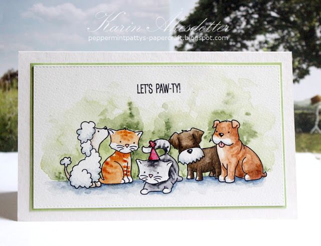 Let's Paw-ty with Avery Elle's new stamps! For more info: I share my creative projects here: https://www.instagram.com/peppermintpatty42/ and on my blog: http://peppermintpattys-papercraft.blogspot.se and on pinterest; https://www.pinterest.se/peppermint42/my-watercolors/  #averyellestamps
