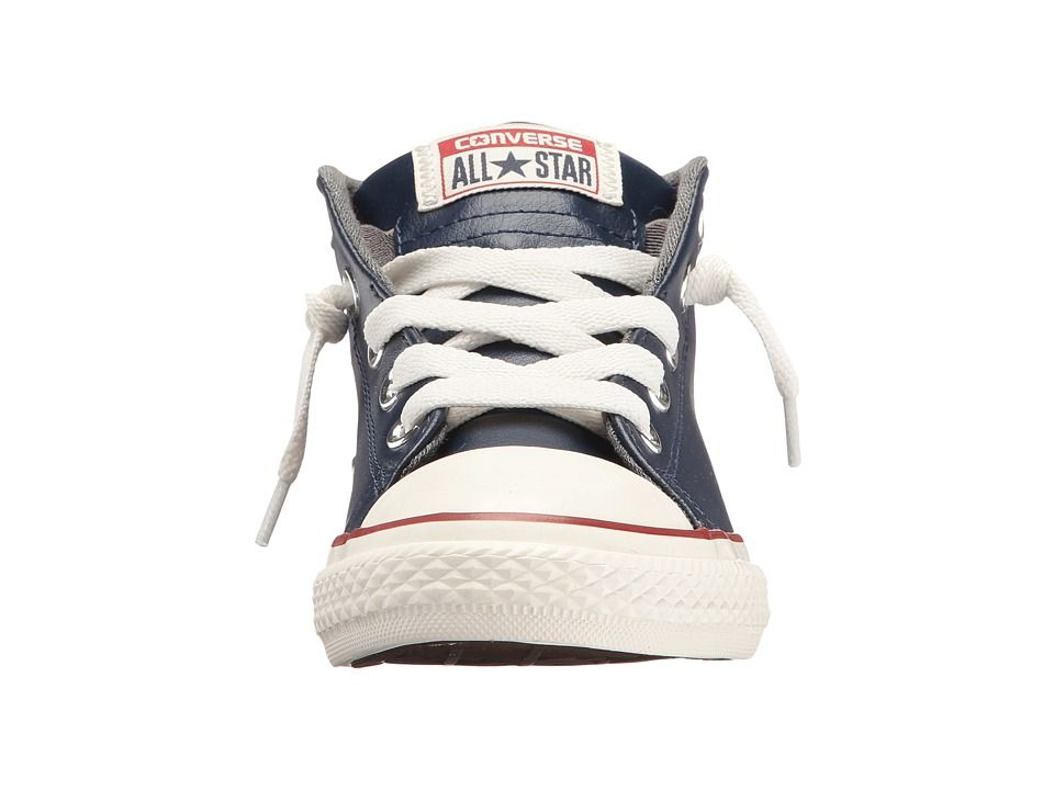 766c04b3a456c9 Converse Kids Chuck Taylor All Star Street Leather and Fleece Mid (Little  Kid Big Kid) Boys Shoes Midnight Navy Terra Red Egret