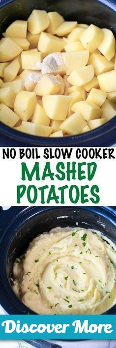 No Boil Slow Cooker Mashed Potatoes. Velvety rich mashed potatoes cooked in the slow cooker. This easy dish requires no boiling, just simply chop  season and let the slow cooker do the rest! The result is smooth and flavorful potatoes which are the perfect side to any turkey dinner. #slowcooker #slowcook #slowcookerrecipes #slowcookerchicken