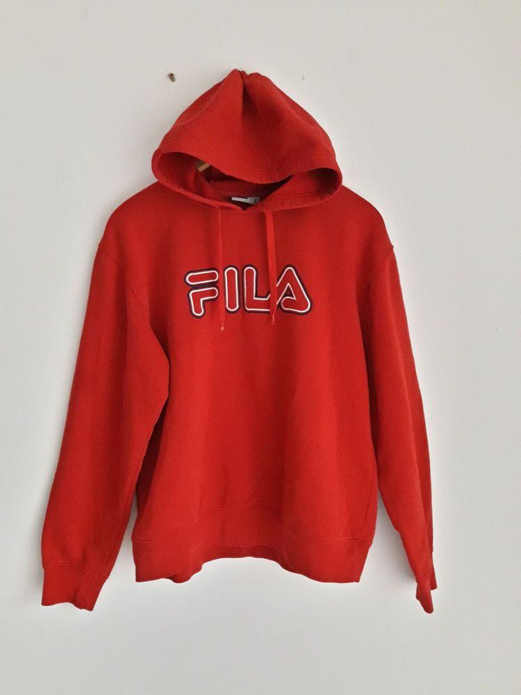 Grertro Vintage 90 S Fila Hoodie Old School Red Sweatshirt Jumper Sweater L Red Sweatshirts Hoodies Sweatshirts