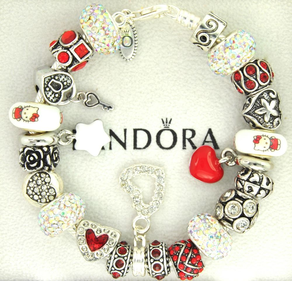 Authentic Pandora Silver Charm Bracelet With Charms Red Hello Kitty Mothers Day Pandoralobsterclas Hello Kitty Jewelry Charm Bracelet Jewelry Bracelets Silver
