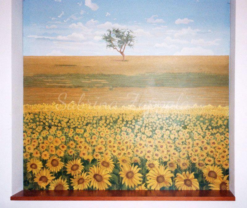 Paesaggio con girasoli | Trompe l\'oeil | Pinterest