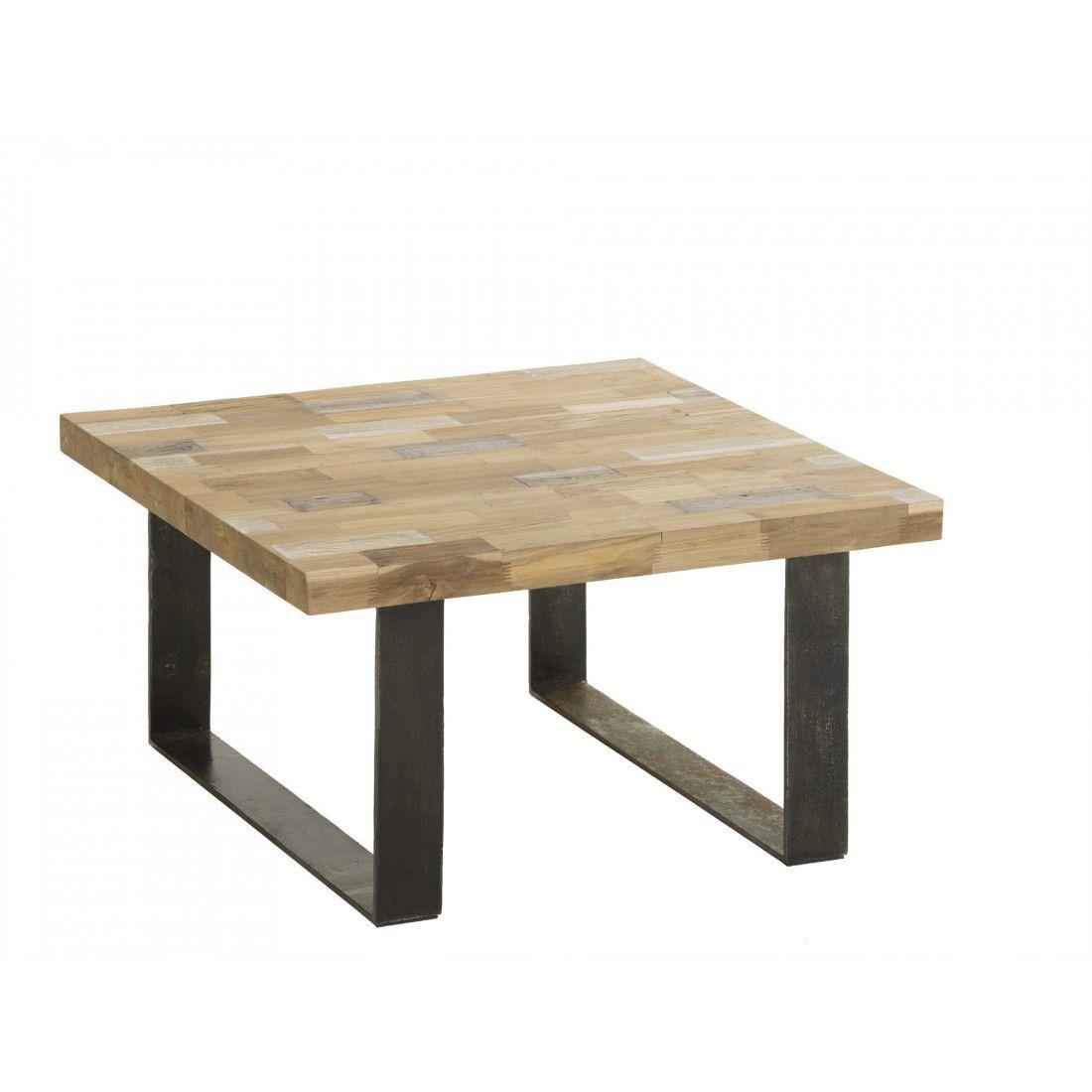 table basse mosaque en teck recycl pied mtal - Pied Pour Table Basse