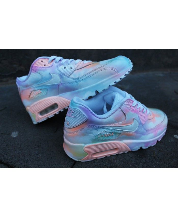 Custom painted Nike Air Max 90 Cloudy pastell Dream Art Style Sneaker * UNIKAT*