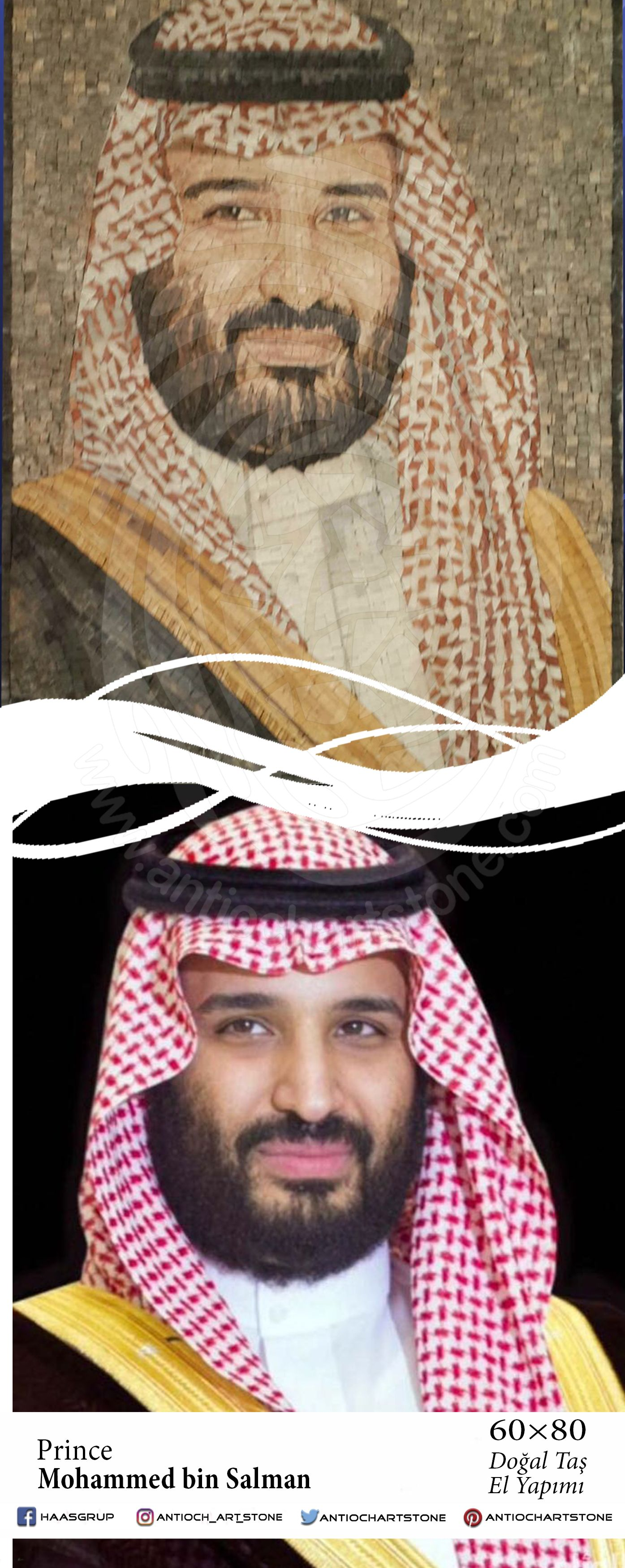 Prince Mohammed Bin Salman الامير محمد بن سلمان فسيفساء حجر طبيعي رسم فن لوحات ديكور Figures Antioch