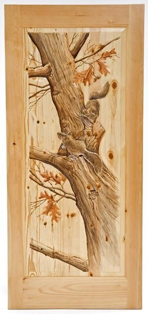 Hand Carved Painted Door With Squirrels Climbing Puertas