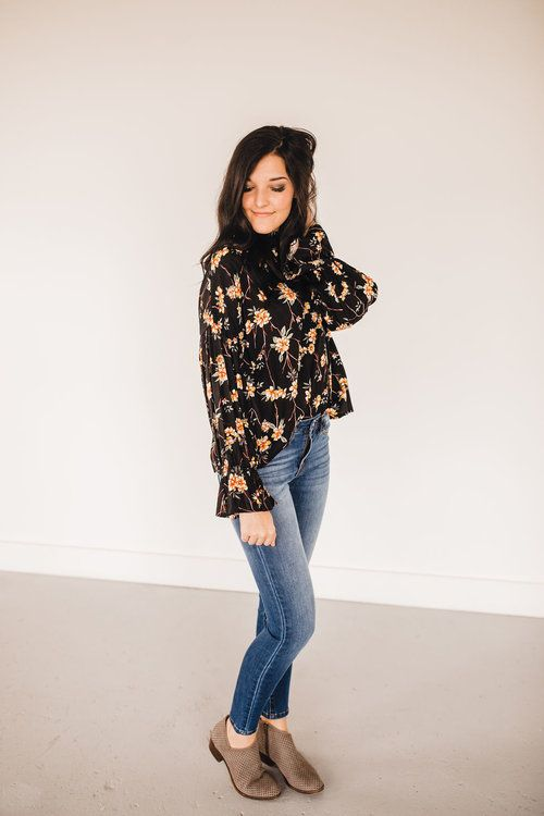 9e0dee1cd42 oh so floral top ruffle sleeves mock neck silky rayon blouse fashionable  winter top black with florals shirt