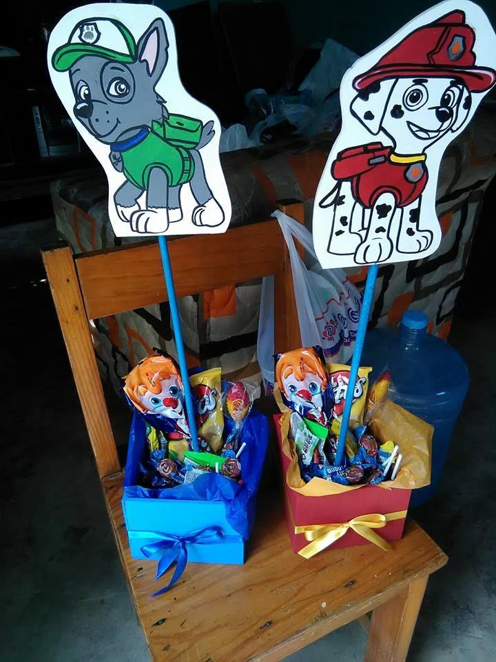 Centros de mesa de paw patrol hechos en madera y pintados - Mesas de madera hechas a mano ...