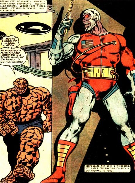 Deathlok planning on ambushing theThing by John Byrne and Joe Sinnott from MARVEL TWO-IN-ONE.