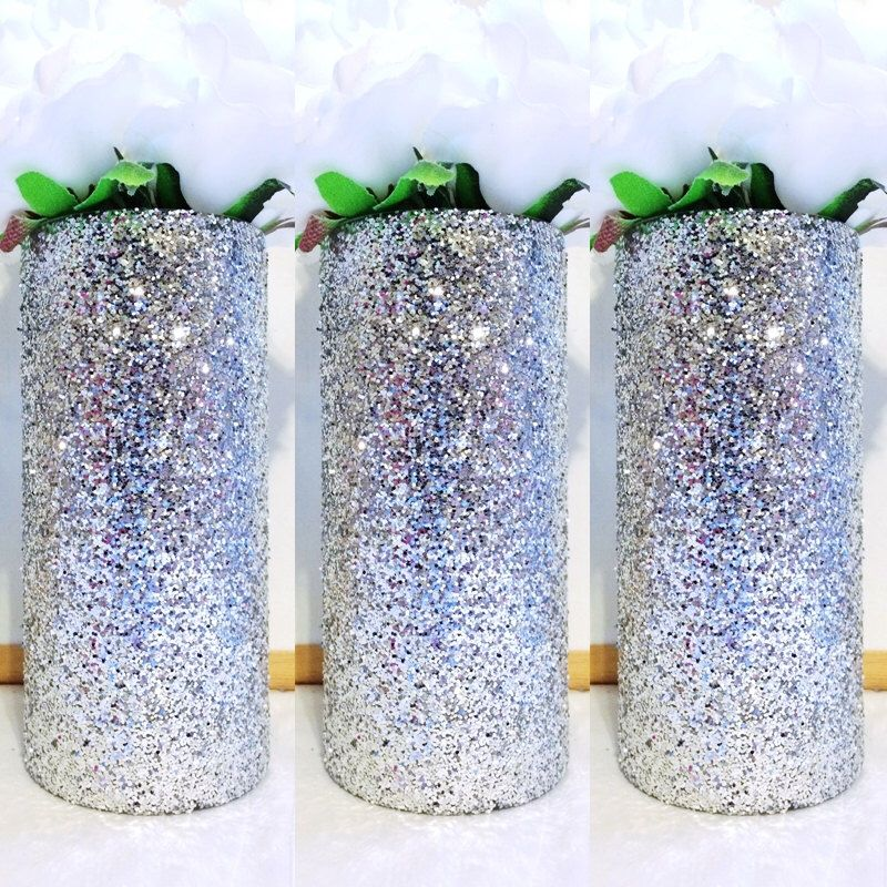 3 Silver Glass Vases Silver Glitter Vases Wedding Centerpiece