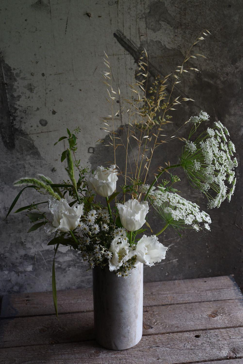 September Flowers Spring White Queen Annes Lace Fringed Tulips