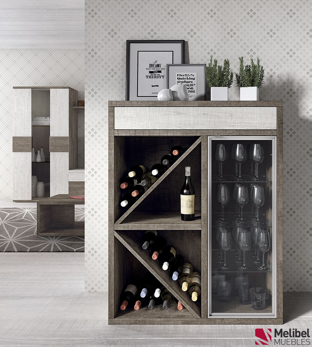 Botellero diagonal comedor sal n moderno botellas botella for Mueble bar moderno para casa
