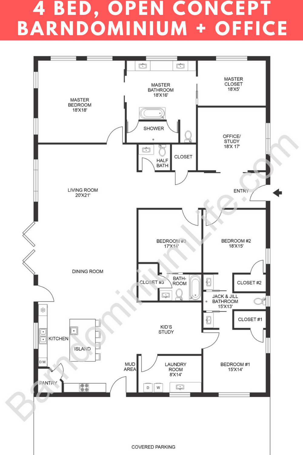 Open Concept Barndominium With Office And Kid Space Barndominium Floor Plans Barndominium New House Plans