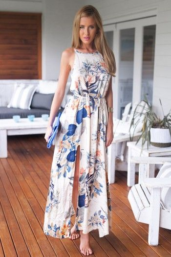 FLORAL PRINT HIGH NECKLINE MAXI DRESS WITH SLIT from xenia boutique
