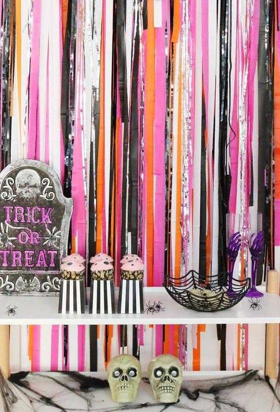Halloween Backdrop, Fringe Backdrop, Photo Backdrop, Streamer Backdrop, Pink Halloween, Halloween Party Decor, Trunk or Treat Decorations