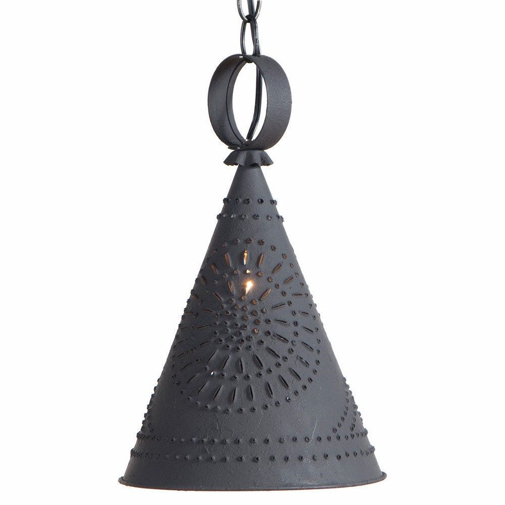 rustic pendant lighting. PRIMITIVE PUNCHED TIN LIGHT Center Down Rustic Witch Hat Country Pendant Lamp #Country Lighting T