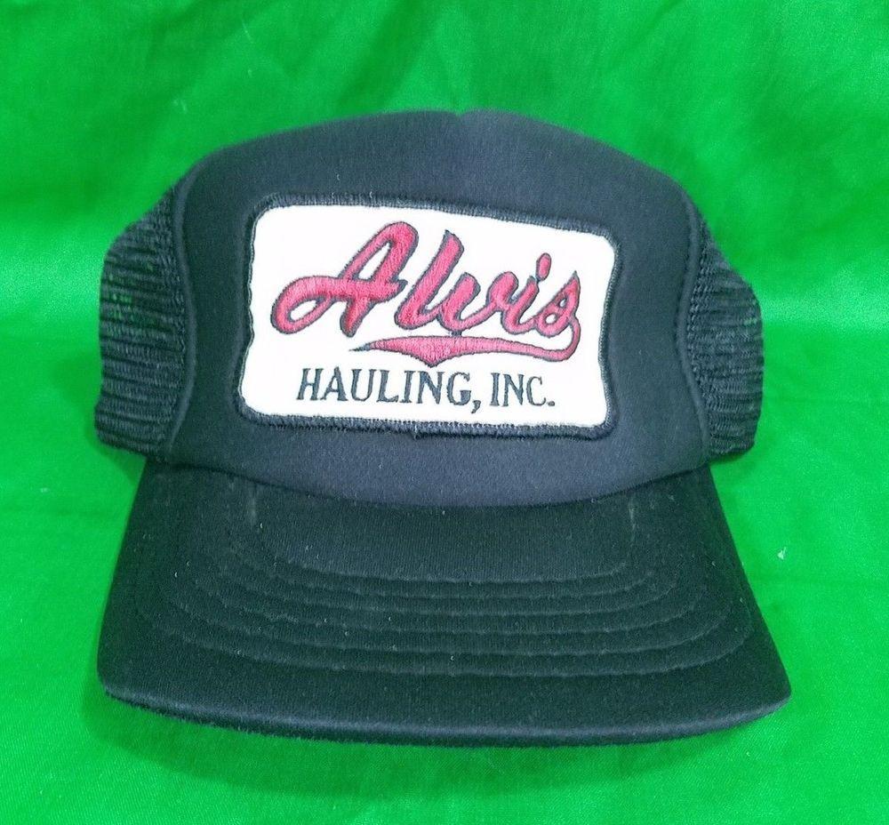 competitive price f9212 bba60 Vtg Alvis Hauling Hat Big Patch Snapback Black Trucker Mesh Cap  Unbranded   Trucker
