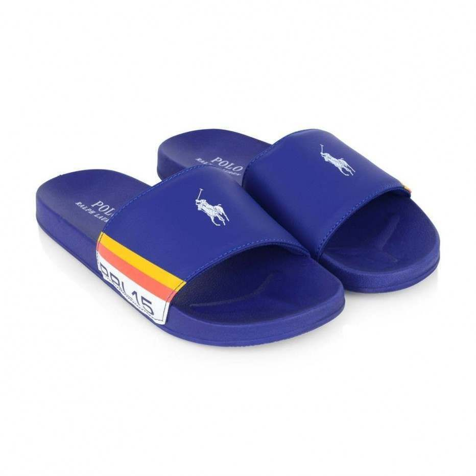 Ralph Lauren Blue Branded Sliders