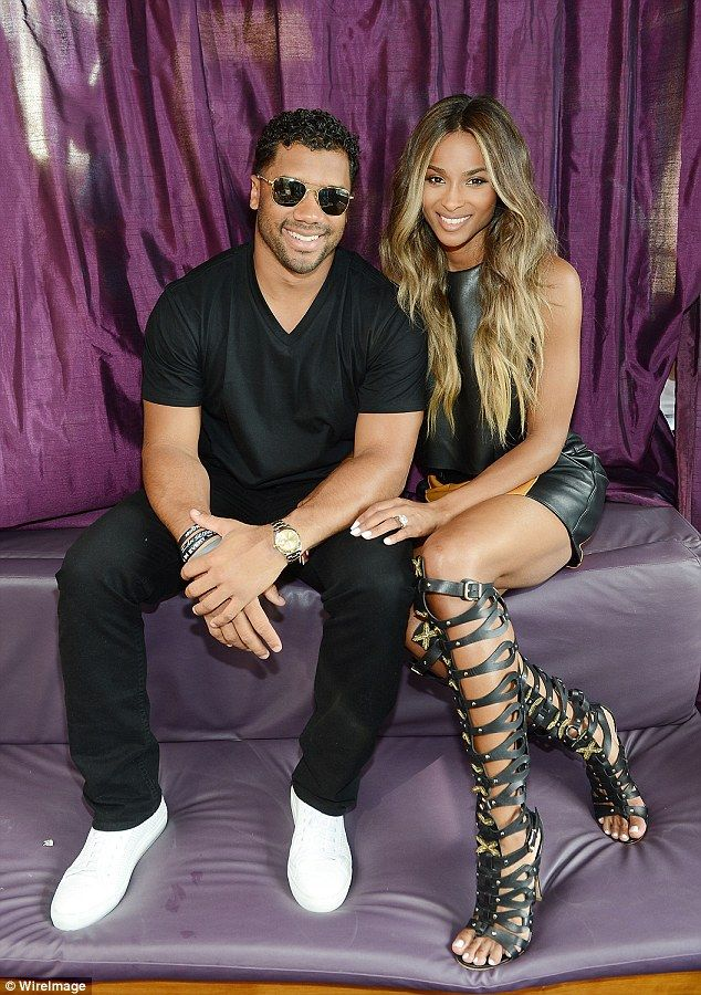 He's here! Russell Wilson wasn't far from his new fiancée's side and joined her at the eve...