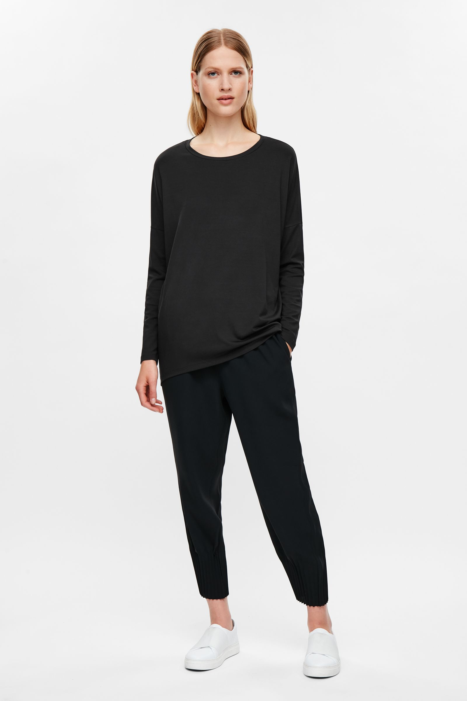 COS image 1 of Top with curved hem in Black