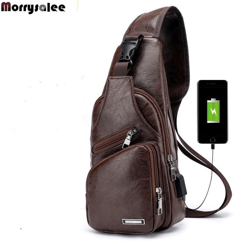 d6a9dd1a56e4 Men s Crossbody Bags Men s USB Chest Bag Designer Messenger bag Leather  Shoulder Bags Diagonal Package Back Pack Travel