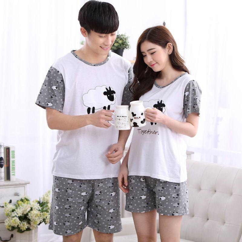 Summer Cotton Pajama Sets Couples Sleepwear Women Pajamas Pijama hombre  Masculino Sheep Print Pyjamas Men s Pajamas 944a727f2