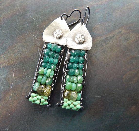 Layered gemstone earrings dipiazzametalworks