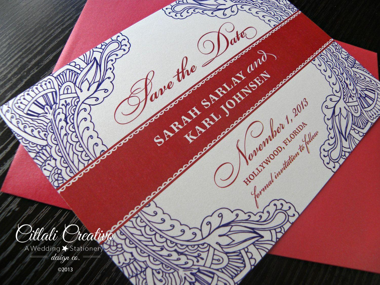 Floral Paisley Henna Wedding Save the Dates   Hennas, Destination ...