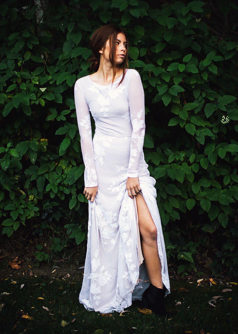 long sleeve wedding dress boho wedding dress lace wedding dress