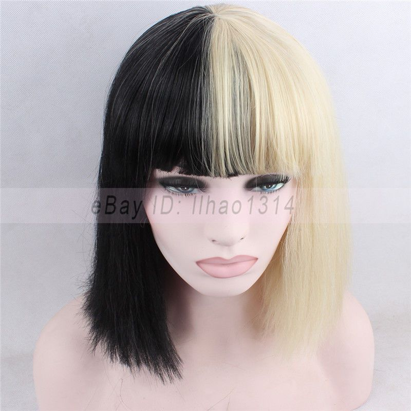 Women s Halloween Sia Costume Wigs Short Bob Straight Black and Blonde  Hairpiece Sia Costume Wigs 0f3c29eae