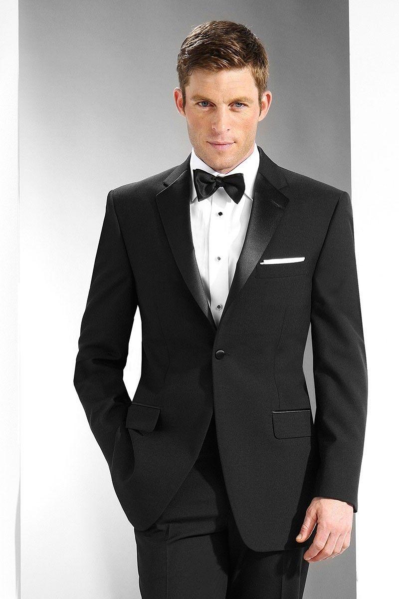 "charleston"" black 1-button notch tuxedo jacket & pants set | black"