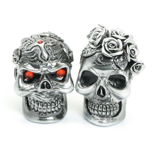 Silver Ceramic Paint Skull Cake Topper Gothic Wedding Crafts