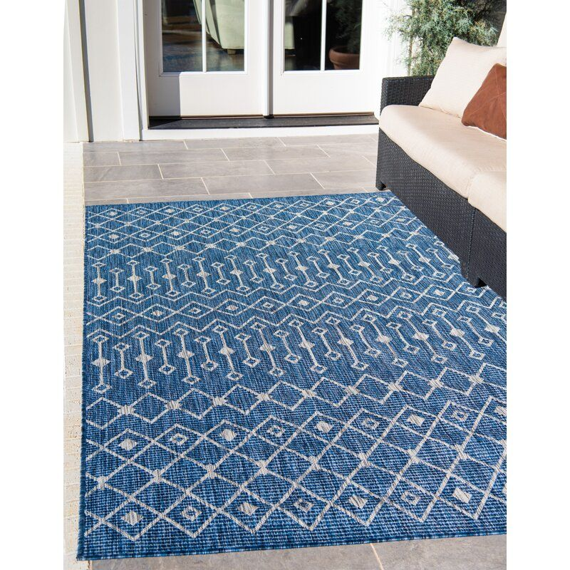 Brylee Southwestern Power Loom Blue Beige Indoor Outdoor Area Rug Blue Outdoor Rug Indoor Outdoor Area Rugs Outdoor Rugs