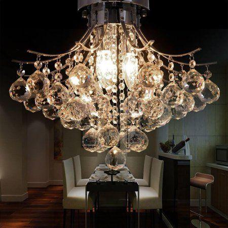 Crystal Chandelier Ceiling Light Elegant Pendant Lamp Home