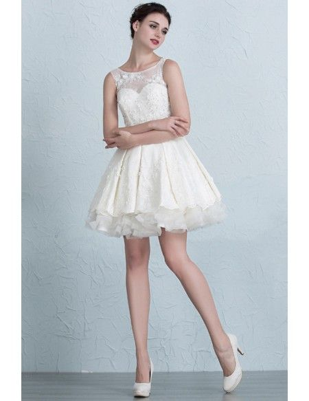 Lace Short Wedding Dresses 2017 Summer A-Line Scoop Neck Short Satin ...