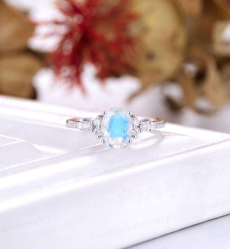 Vintage Moonstone Engagement Ring art deco wedding ring oval | Etsy